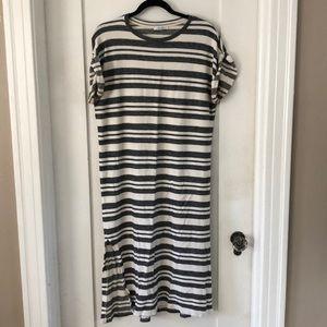 Zara striped t shirt dress w side slits